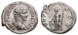 Ancient Coins - GETA AR Denarius. EF-. Minerva - PONTIF COS. Good!