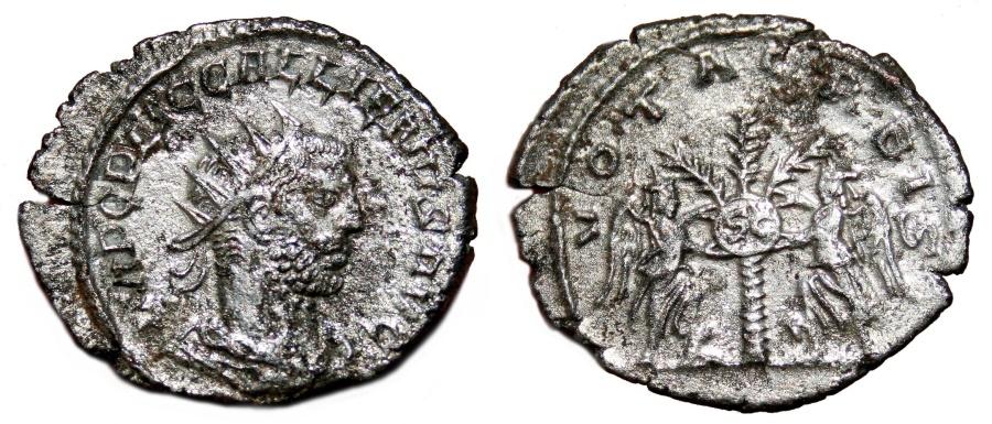 Ancient Coins - GALLIENUS AR Antoninianus. VF+. Samosata mint. VOTA ORBIS - Two Victories and Shield.