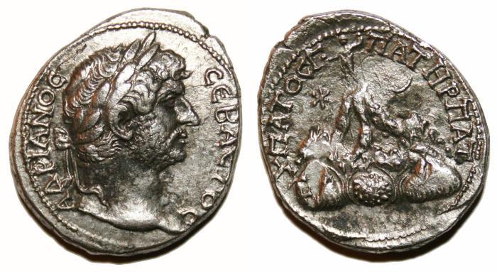 Ancient Coins - HADRIAN AR Didrachm. EF-. Caesarea (Cappadocia) mint. Mount Argaeus. RARE!!!