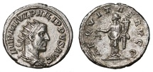 Ancient Coins - PHILIP I the Arab AR Antoninianus. EF-/VF+. Antioch mint. AEQVITAS AVGG. Scarce and Nice.