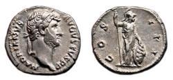Ancient Coins - HADRIAN AR Denarius. EF-/EF. Rome standing - COS III.