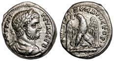 Ancient Coins - GETA AR Tetradrachm. EF/EF-. Tyre mint. Eagle, club and murex. SCARCE and NICE!
