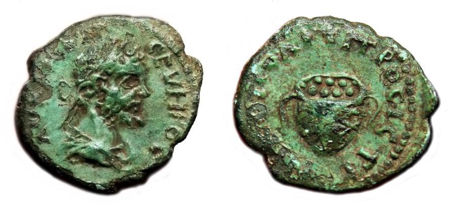Ancient Coins - SEPTIMIUS SEVERUS AE17. Nicopolis ad Istrum mint. VF+. Basket of Fruits.