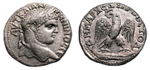 Ancient Coins - CARACALLA AR Tetradrachm. EF. Original LUSTER. Paphos (Cyprus) mint. Cross behind Bust.