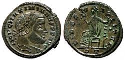 Ancient Coins - MAXIMIANUS HERCULIUS AE Follis. EF. Ticinum mint. FIDES MILITVM.