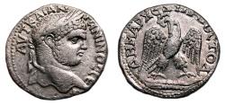 Ancient Coins - CARACALLA AR Tetradrachm. EF. Original LUSTER. Paphos (Cyprus) mint. Cross behind Bust.