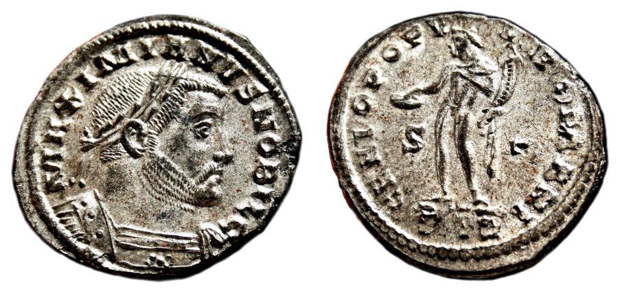 Ancient Coins - GALERIUS MAXIMIANUS Bi Follis. EF+/EF. SILVERED. Treveri mint. GENIO POPVLI ROMANI.