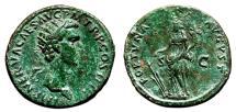 Ancient Coins - NERVA Æ Dupondius. EF-. FORTVNA AVGVST. Green patina.