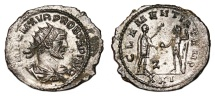 Ancient Coins - PROBUS Bi Antoninianus. EF-. SILVERED. Antioch mint. CLEMENTIA TEMP. Quality!