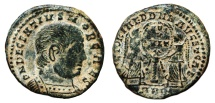 Ancient Coins - DECENTIUS AE2 (Maiorina). EF-. Ambianum mint. Two Victories, shield and column. SCARCE MINT.