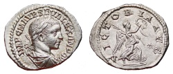 Ancient Coins - SEVERUS ALEXANDER AR Denarius. EF. Antioch mint. VICTORIA AVG. Scarce and Excellent!