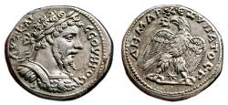 Ancient Coins - SEPTIMIUS SEVERUS AR Tetradrachm. EF. Laodikea mint. Cuirassed bust with aegis and trabea.