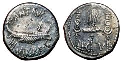 Ancient Coins - MARK ANTONY AR Denarius. EF-. LEG V. Galley and Legionary Standars.