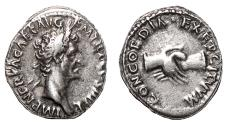 Ancient Coins - NERVA AR Denarius. VF+. Hands - CONCORDIA EXERCITVVM.
