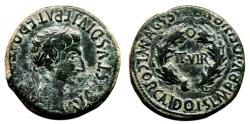 Ancient Coins - AUGUSTUS AE As. EF-/EF. Wreath in reverse. VERY NICE and SCARCE.