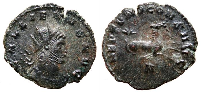 Ancient Coins - GALLIENUS Bi Antoninianus. VF+. Hippocamp - NEPTVNO CONS AVG. Scarce reverse.