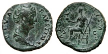 Ancient Coins - FAUSTINA I Senior AE Sestertius. EF-/VF+. AETERNITAS - Aeternitas seated. QUALITY!