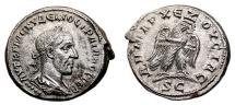 Ancient Coins - TRAJAN DECIUS AR Tetradrachm. EF. Eagle to right, five Pellets.