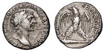 Ancient Coins - TRAJAN AR Tetradrachm. VF+. Tyre mint. COS VI, year 16. Eagle, club and palm.