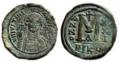 Ancient Coins - JUSTINIAN I AE Follis. VF+/EF-. Nicomedia. Year 21. Green patina.