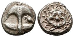 Ancient Coins - APOLLONIA PONTICA AR Drachm. EF-/EF. Gorgoneion - Anchor. Late archaic style issue.