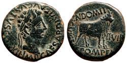 Ancient Coins - AUGUSTUS AE As. EF-/EF. Magistrates CN DOMITIUS and C POMPEIUS - Bull.
