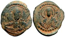 Ancient Coins - Anonymous (attributed to Romanus IV) Follis. EF-/VF+. Constantinople. Christ and Virgin Mary.