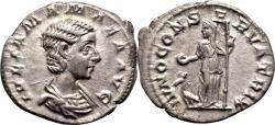 Ancient Coins - JULIA MAMAEA AR Denarius. EF. IVNO CONSERVATRIX.