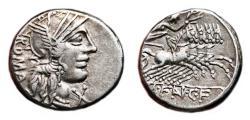 Ancient Coins - M. Fannius C.f. AR Denarius. EF-. Victory in Quadriga.