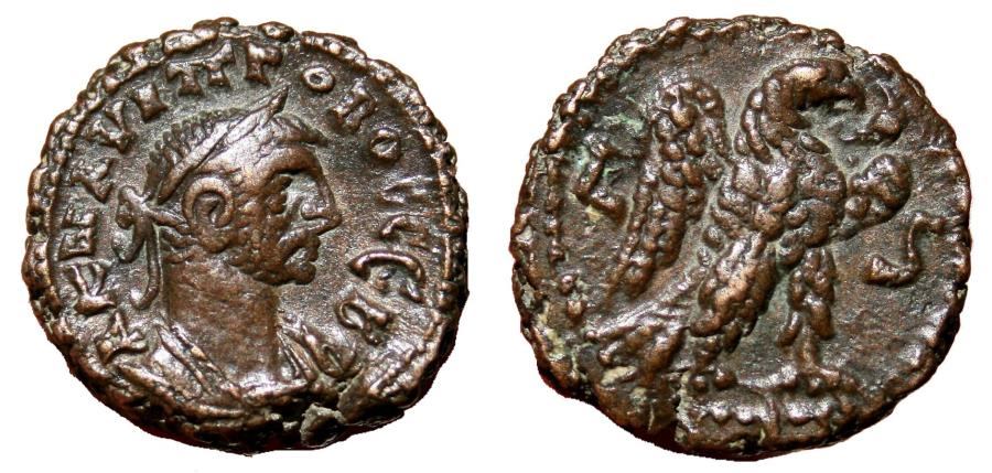 Ancient Coins - PROBUS Bi (potin) Tetradrachm. EF-. Alexandria mint, year 6. Eagle on reverse. (6,8 g - 16 mm)