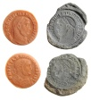 Ancient Coins - Clay Counterfeiters Mold, 4th Century AD, Diocletian and Galerius, 305 - 311 AD, From Israel