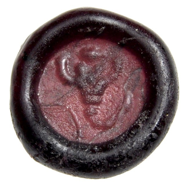 Ancient Coins - Purple Aubergine Glass Seal or Tesserae with Scorpion, 4th - 5th AD