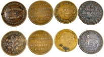 Ancient Coins - Lot of 4 English & Irish Merchant Tokens, Mid 19th Century