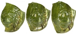 Ancient Coins - Green Glass Lion's Head Applique, c. 4th Century AD