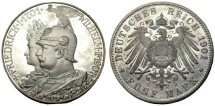 World Coins - Prussia: Kaider Wilhelm II Five Mark, Dated 1901, 2001 Restrike