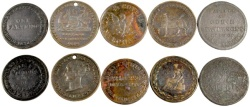 Ancient Coins - Lot of 5 Irish & Scotch & English Merchant Tokens, Mid 19th Century