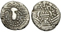 "Ancient Coins - Indo-Sassanian Gadhiya"" Fire Alter Type, 1030-1210 CE, Billon Drammas or Paisas"