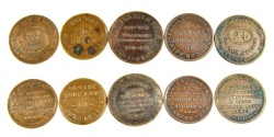 Ancient Coins - Lot of 5 English Merchant Tokens, Mid 19th Century