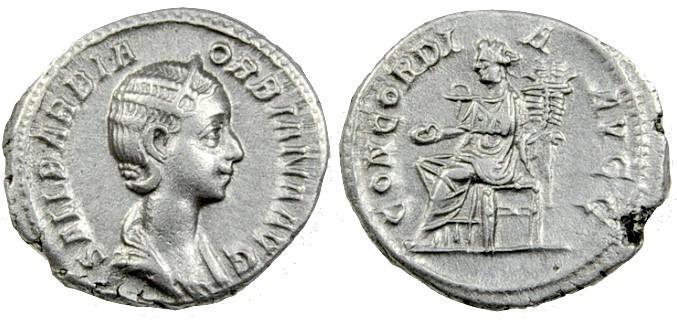 Ancient Coins - Orbiana (wife of Severus Alexander) AR Denarius, Rome Mint, 225 AD