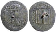 Ancient Coins - Geta (as Caesar 198 - 209 AD) AE 38 Cloak Button (Caria, Mylasa)