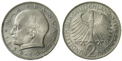 World Coins - German 2 Deutsche Mark, 1957, Max Planck