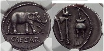 JULIUS CAESAR 49 BC Elephant Serpent   NGC AU