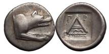 Ancient Coins - ARGOLIS: Argos, 330-270 B.C. Silver Triobol. Wolf. Large A. ex.BCD.