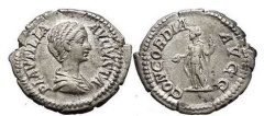 Ancient Coins - PLAUTILLA, Rome, 202-205 AD. Silver Denarius. Concordia.
