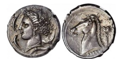 Ancient Coins - SICILY under Carthage Siculo-Punic 320 B.C.  Ancient Silver Greek Tetradrachm NGC Ch EF