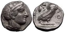 Ancient Coins - ATTICA, ATHENS, c.449 B.C. Silver Tetradrachm. Athena. Owl.