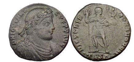 Ancient Coins - JOVIAN,Thessalonica, 363 A.D., 2-Majorina: Emperor w. labarum(Chi-Rho), and Victory.