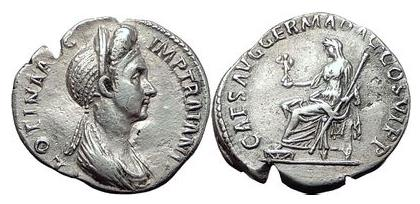 Ancient Coins - PLOTINA wife of TRAJAN 112 AD Rome Silver Roman Denarius