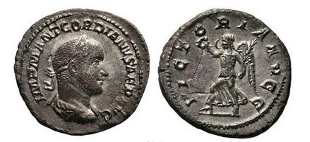 Ancient Coins - GORDIAN II, Africanus, 238 AD. Silver Denarius. Victory. Very Rare. Superb!