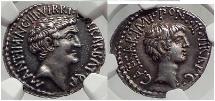 Ancient Coins - MARK ANTONY & Augustus as TRIUMVIRS 41 BC Silver NGC AU